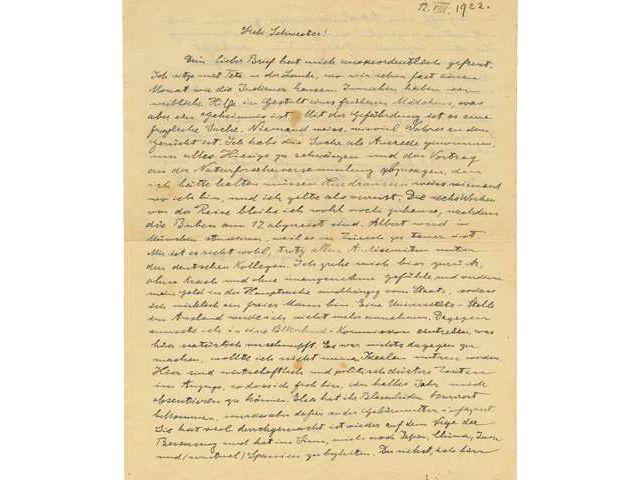 Письмо Эйнштейна спредсказанием Германии «темных времен» выставили нааукцион